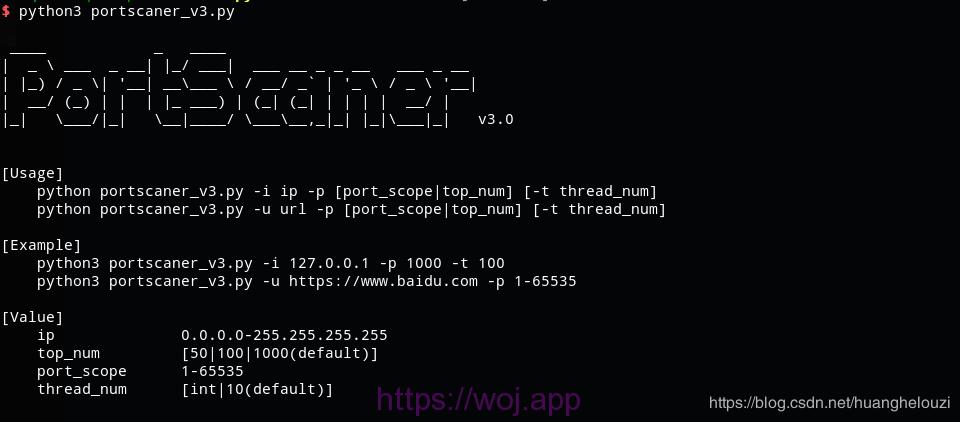python3 扫描端口最终版程序样式